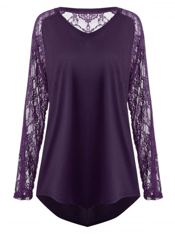 Sale Plus Size Sheer Lace Panel Asymmetric T-shirt