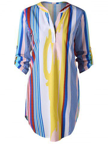 Chic Curved Hem Striped Shirt Dress