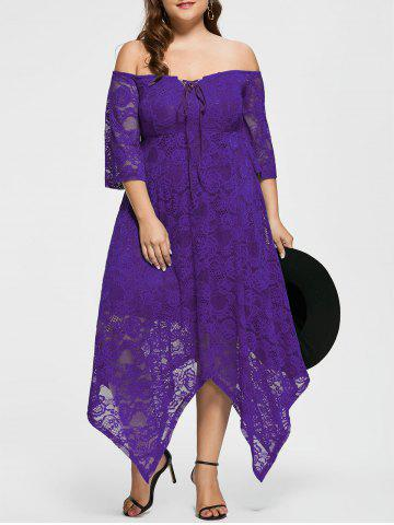 Buy Off The Shoulder Plus Size Maid of Honor Dress - 5XL PURPLE Mobile