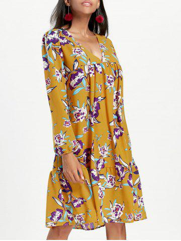 Hot Chiffon Long Sleeve Floral Dress - S YELLOW Mobile