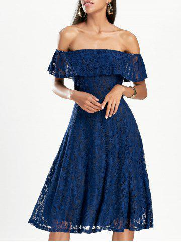 Fashion Off The Shoulder Lace Mini Dress DEEP BLUE S