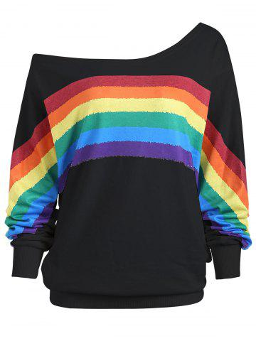 Trendy Print Rainbow Plus Size One Shoulder Top - 5XL BLACK Mobile