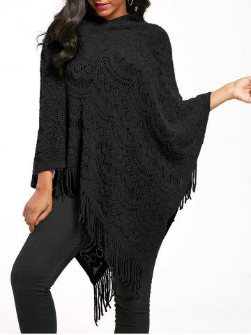 Outfits Fringed Asymmetrical Crochet Knit Poncho BLACK ONE SIZE