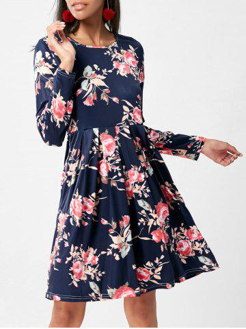 Discount Floral Swing Dress with Long Sleeve - XL PURPLISH BLUE Mobile