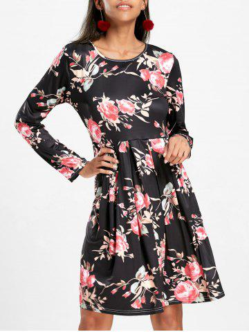 Fashion Floral Swing Dress with Long Sleeve BLACK XL
