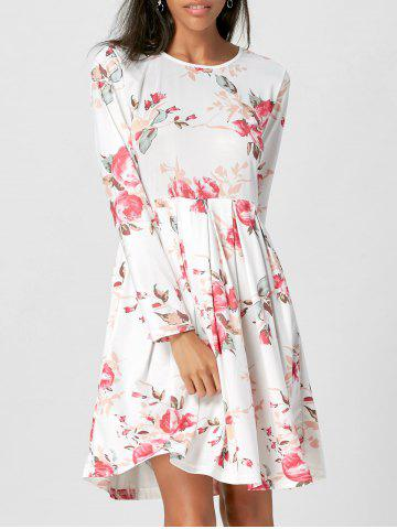 Chic Floral Swing Dress with Long Sleeve - XL WHITE Mobile