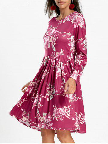Store Floral Swing Dress with Long Sleeve - M RED Mobile