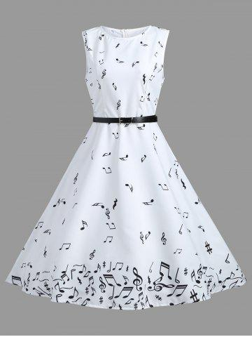 Cheap Vintage A Line Notes Print Dress WHITE M