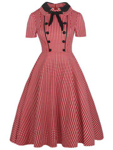 Trendy Vintage Bowknot Buttons Fit and Flare Dress