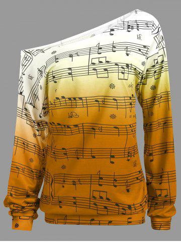 Trendy Musical Notes Printed Long Sleeves Sweatshirt