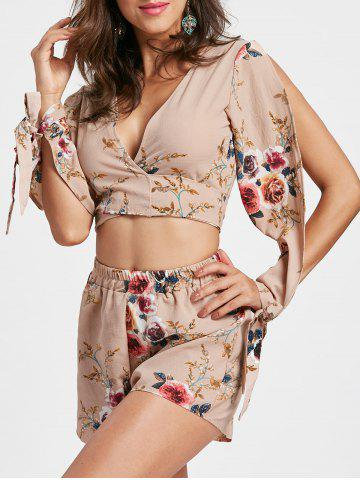 Sale Split Sleeve Floral Crop Top with Shorts