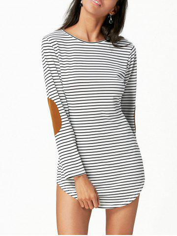 Faux Suede Insert Striped Tunic Tee Dress