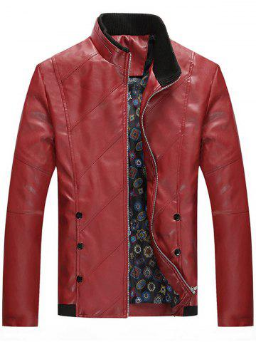 Shop Stand Collar Zip Up Faux Leather Jacket