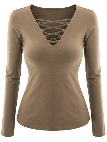 Fancy Plus Size V Neck Criss Cross Tee