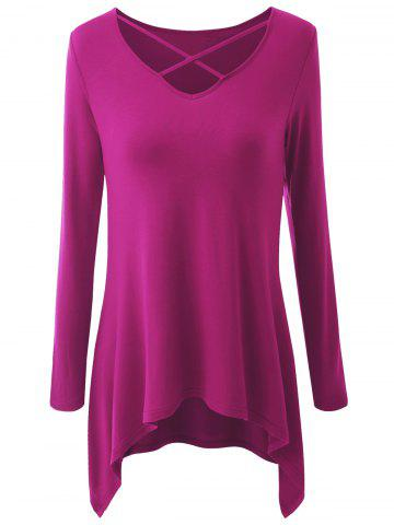 Discount Plus Size Asymmetrical Criss Cross T-shirt