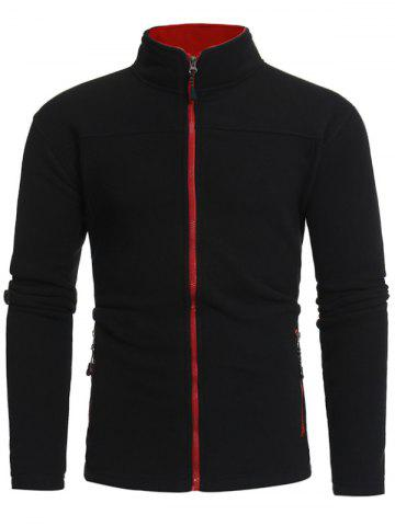 Cheap Zip Pockets Warm Fleece Jacket