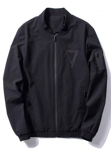 Triangle Pattern Embroidered Bomber Jacket