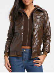Flap Pockets Hooded Faux Leather Jacket -