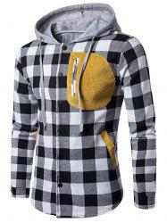 Snap Button Patchwork Plaid Hoodie