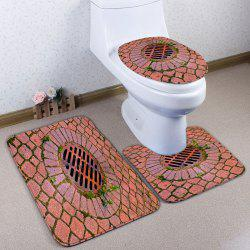 3Pcs / Set Brick Sewer Flannel Toilet Mats - Brique