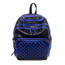Textured Leather Plaid Pattern Backpack -