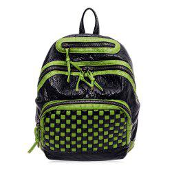 Textured Leather Plaid Pattern Backpack - GREEN