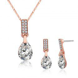 Teardrop Pendant Necklace and Earrings - WHITE