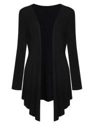 Collarless Draped Asymmetric Cardigan - BLACK L