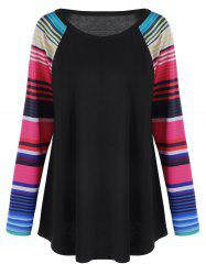 Plus Size Striped Raglan Sleeves Top -