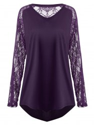 Plus Size Sheer Lace Panel Asymmetric T-shirt -