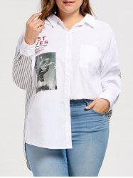 Picture Stripe Back Plus Size High Low Shirt