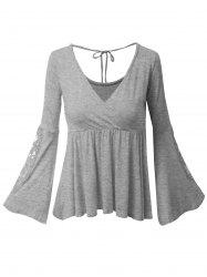 Plus Size Bell Sleeve Surplice Lace Panel Tee -