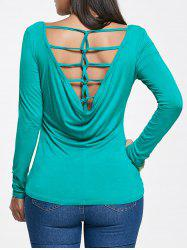 Long Sleeve Strappy Drape Back Tee -
