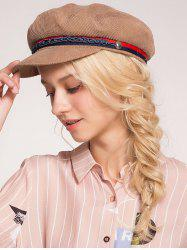 Pinstripe Beret Hat with Woven Rope -