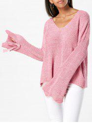 Drop Shoulder V Neck Tied Sleeve Sweater -