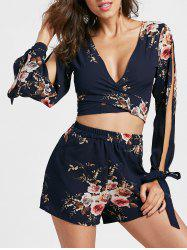 Split Sleeve Floral Crop Top with Shorts - CERULEAN XL