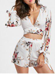 Split Sleeve Floral Crop Top with Shorts - WHITE L