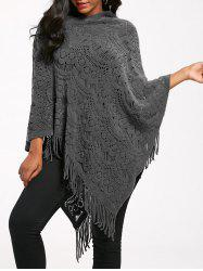 Fringed Asymmetrical Crochet Knit Poncho -