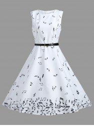 Vintage A Line Notes Print Dress - WHITE M