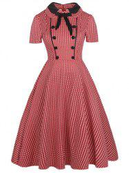Vintage Bowknot Buttons Fit and Flare Dress -