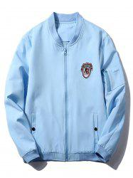 Badge Zip Pocket Bomber Jacket -