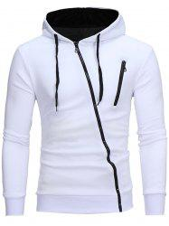 Color Block Oblique Zippers Fleece Hoodie -