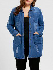 Plus Size Ripped Denim Coat -
