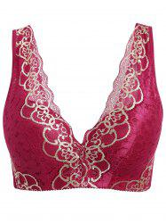 Plus Size Wirefree Padded Lace Trim Nonadjustable Bra -