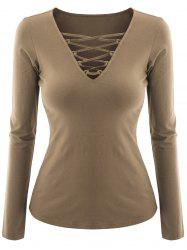 Plus Size V Neck Criss Cross Tee -
