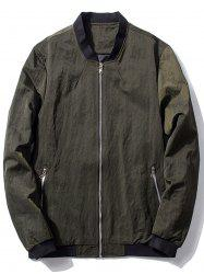 Zip Pocket Stand Collar Bomber Jacket -