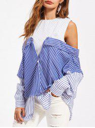 Stripe Convertible Tunic Shirt -