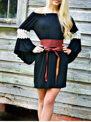 Bell Sleeve Off The Shoulder Shift Dress -