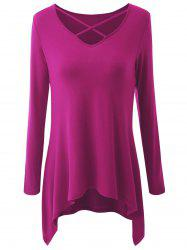 Plus Size Asymmetrical Criss Cross T-shirt -