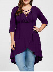 Plus Size Overlap Lace Up Top -